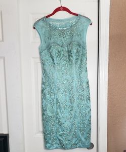 SUE WONG Embellished Dress Aqua size 2
